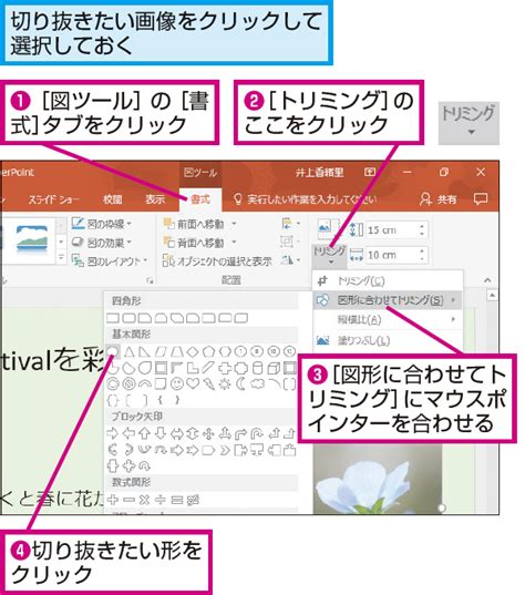 PowerPointで画像を円形や星形に切り抜く方法 | できるネット